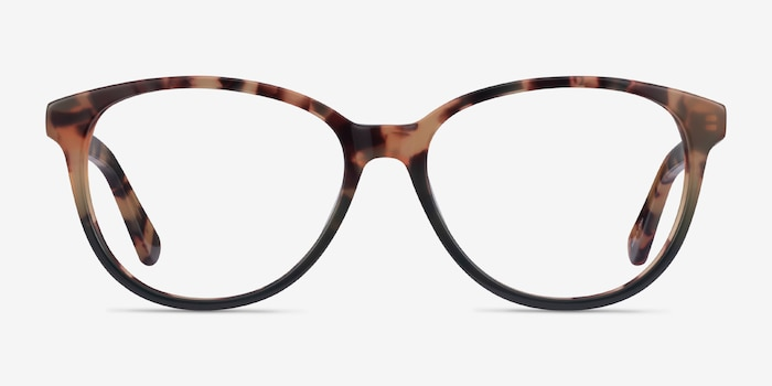 Hepburn Tortoise Green Acetate Eyeglass Frames from EyeBuyDirect, Front View