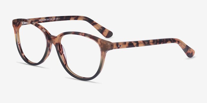 Hepburn Tortoise Green Acetate Eyeglass Frames from EyeBuyDirect, Angle View