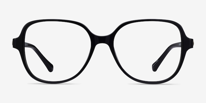 Precious Black Acetate Eyeglass Frames from EyeBuyDirect, Front View