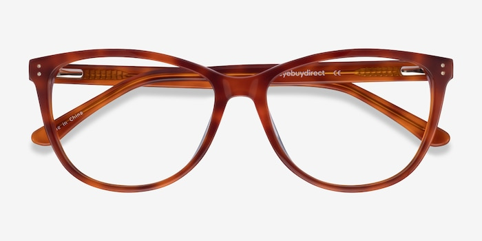 Solitaire Tortoise Acetate Eyeglass Frames from EyeBuyDirect, Closed View