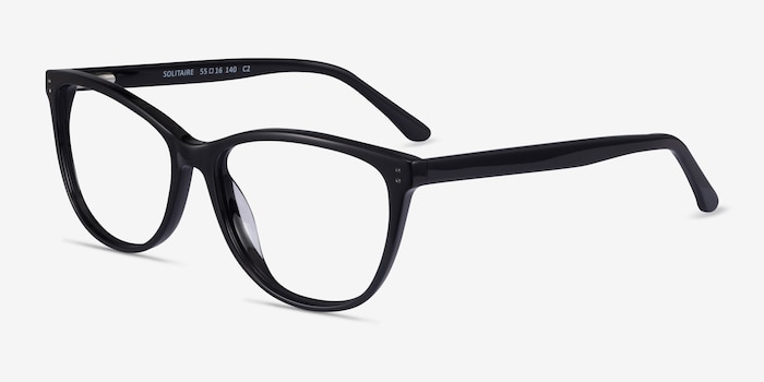 Solitaire Black Acetate Eyeglass Frames from EyeBuyDirect, Angle View