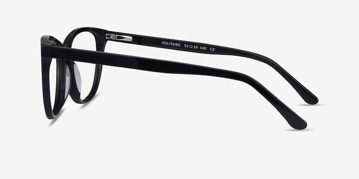 Solitaire Black Acetate Eyeglass Frames from EyeBuyDirect, Side View