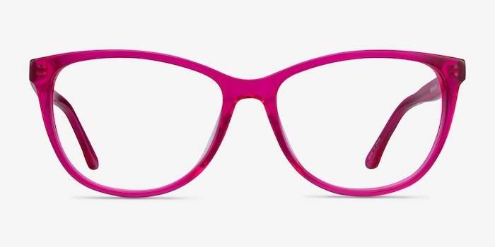 Solitaire Pink Acetate Eyeglass Frames from EyeBuyDirect, Front View