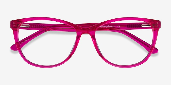 Solitaire Pink Acetate Eyeglass Frames from EyeBuyDirect, Closed View