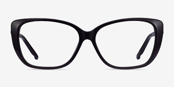 Elegance Black Acetate Eyeglass Frames from EyeBuyDirect, Front View