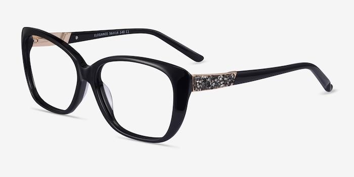Elegance Black Acetate Eyeglass Frames from EyeBuyDirect, Angle View