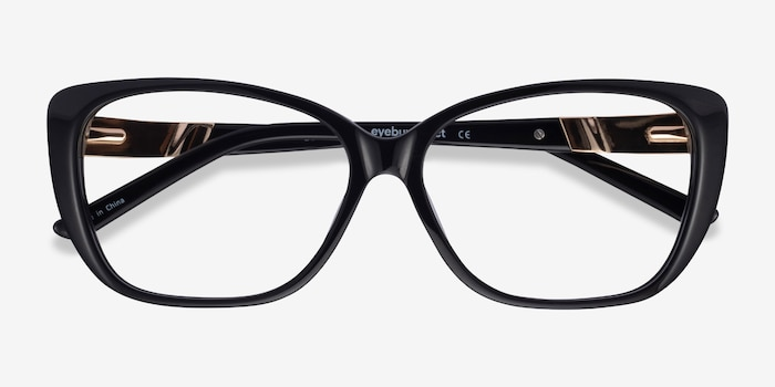 Elegance Black Acetate Eyeglass Frames from EyeBuyDirect, Closed View