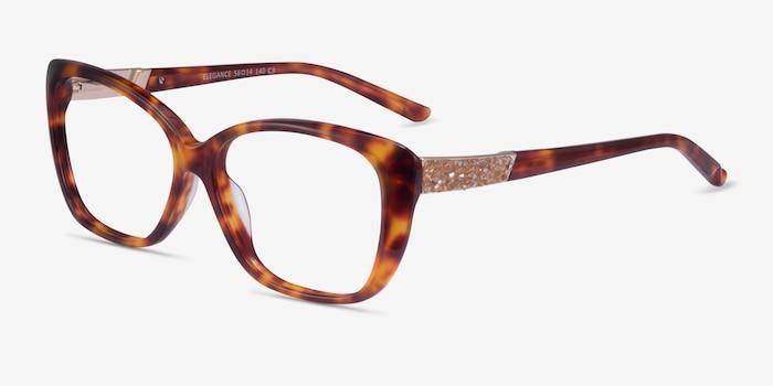 Elegance Tortoise Acetate Eyeglass Frames from EyeBuyDirect, Angle View