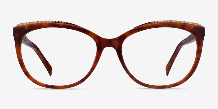 Brilliance Tortoise Acetate Eyeglass Frames from EyeBuyDirect, Front View