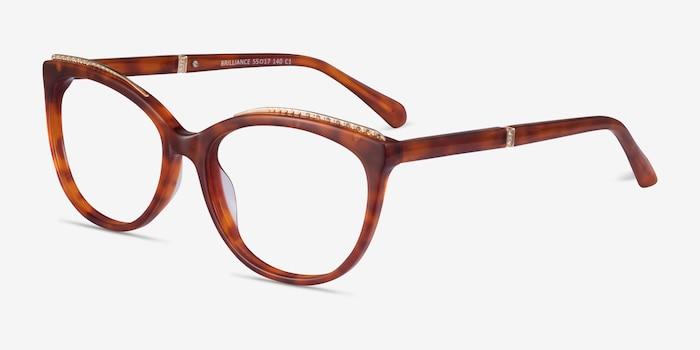 Brilliance Tortoise Acetate Eyeglass Frames from EyeBuyDirect, Angle View