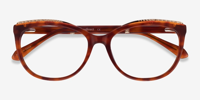 Brilliance Tortoise Acetate Eyeglass Frames from EyeBuyDirect, Closed View