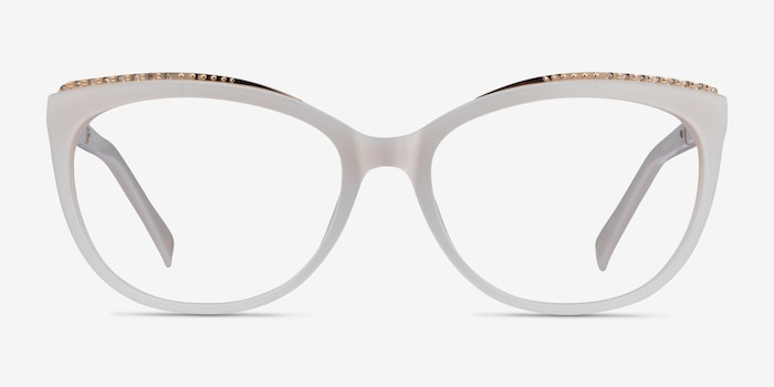 Brilliance White Acetate Eyeglass Frames from EyeBuyDirect, Front View