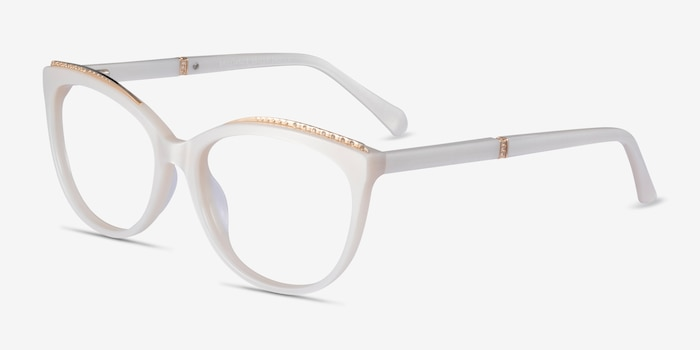 Brilliance White Acetate Eyeglass Frames from EyeBuyDirect, Angle View