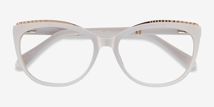 Brilliance White Acetate Eyeglass Frames from EyeBuyDirect, Closed View