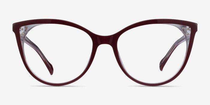 Bijou Burgundy Acetate Eyeglass Frames from EyeBuyDirect, Front View