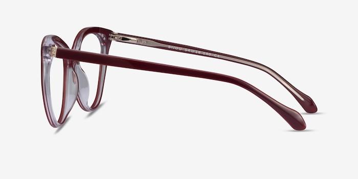 Bijou Burgundy Acetate Eyeglass Frames from EyeBuyDirect, Side View