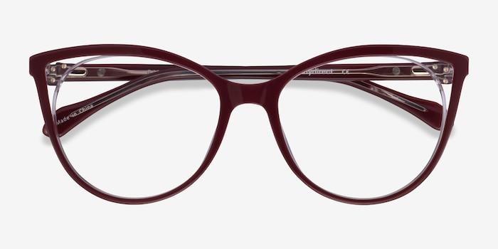 Bijou Burgundy Acetate Eyeglass Frames from EyeBuyDirect, Closed View