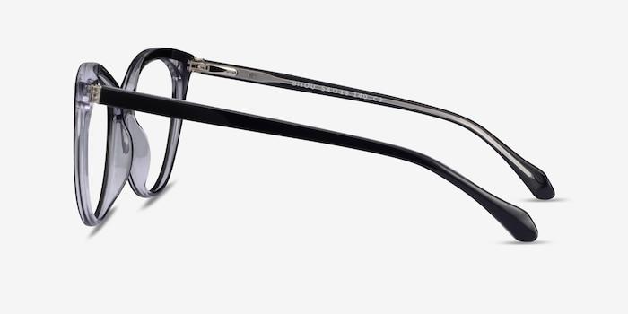 Bijou Black Acetate Eyeglass Frames from EyeBuyDirect, Side View