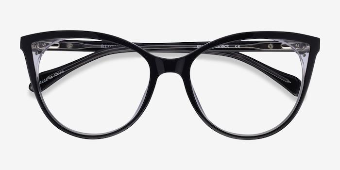 Bijou Black Acetate Eyeglass Frames from EyeBuyDirect, Closed View