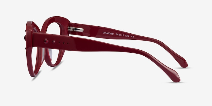 Diamond Burgundy Acetate Eyeglass Frames from EyeBuyDirect, Side View