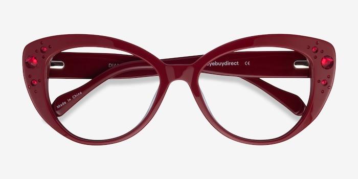 Diamond Burgundy Acetate Eyeglass Frames from EyeBuyDirect, Closed View