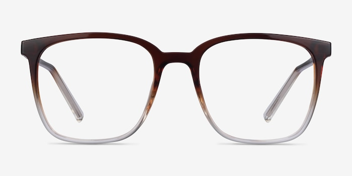 House Gradient Brown Plastic Eyeglass Frames from EyeBuyDirect, Front View