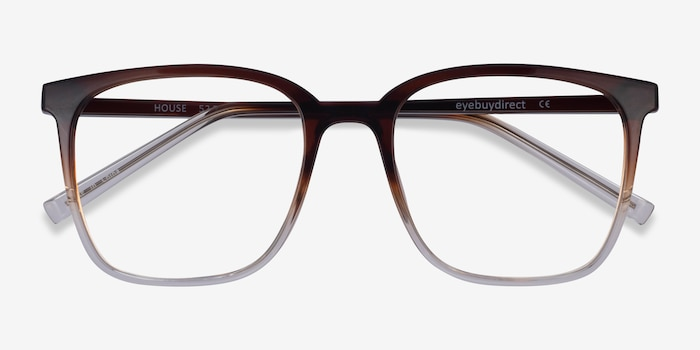 House Gradient Brown Plastic Eyeglass Frames from EyeBuyDirect, Closed View