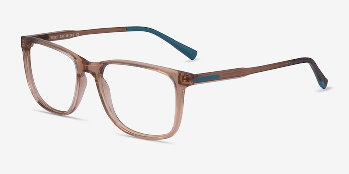 Freeze Clear Brown Plastic Eyeglass Frames from EyeBuyDirect, Angle View