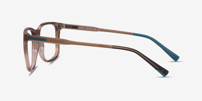 Freeze Clear Brown Plastic Eyeglass Frames from EyeBuyDirect, Side View