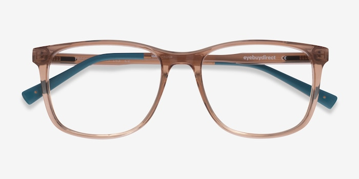 Freeze Clear Brown Plastic Eyeglass Frames from EyeBuyDirect, Closed View