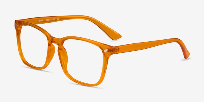 Hope Clear Orange Plastique Montures de Lunette de vue d'EyeBuyDirect, Vue d'Angle