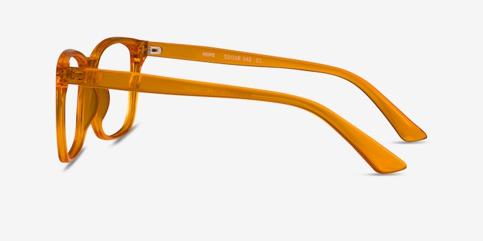 Hope Clear Orange Plastique Montures de Lunette de vue d'EyeBuyDirect, Vue de Côté