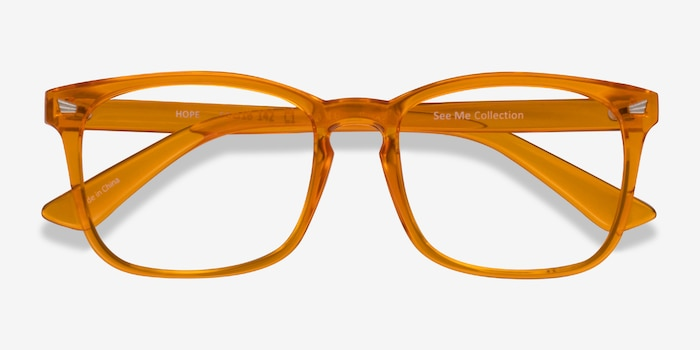 Hope Clear Orange Plastic Eyeglass Frames from EyeBuyDirect, Closed View