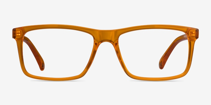 Community Clear Orange Plastic Eyeglass Frames from EyeBuyDirect, Front View