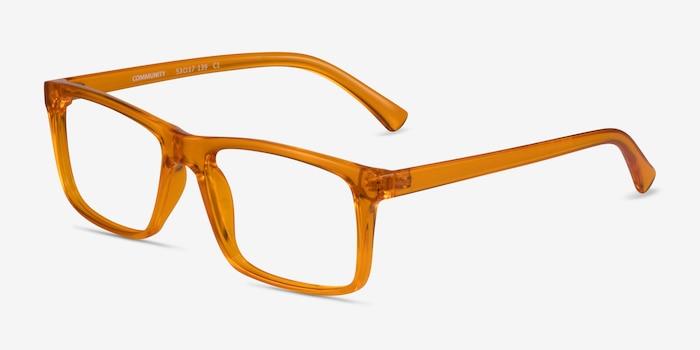 Community Clear Orange Plastic Eyeglass Frames from EyeBuyDirect, Angle View