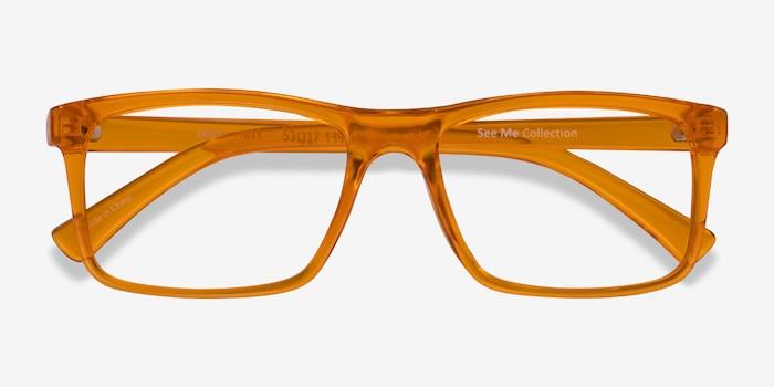Community Clear Orange Plastic Eyeglass Frames from EyeBuyDirect, Closed View