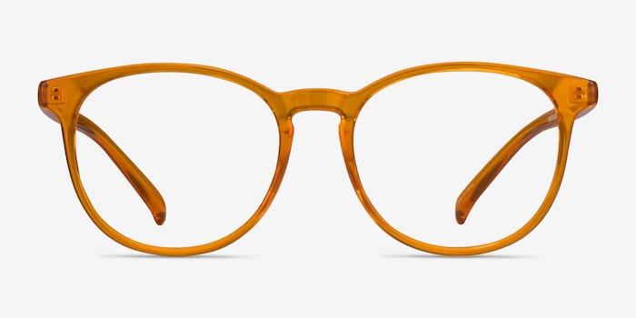Rainbow Clear Orange Plastic Eyeglass Frames from EyeBuyDirect, Front View
