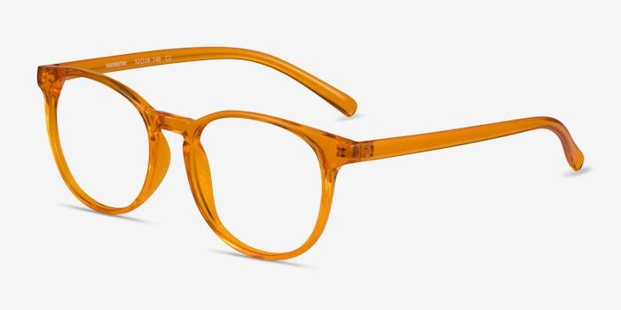 Rainbow Clear Orange Plastic Eyeglass Frames from EyeBuyDirect, Angle View