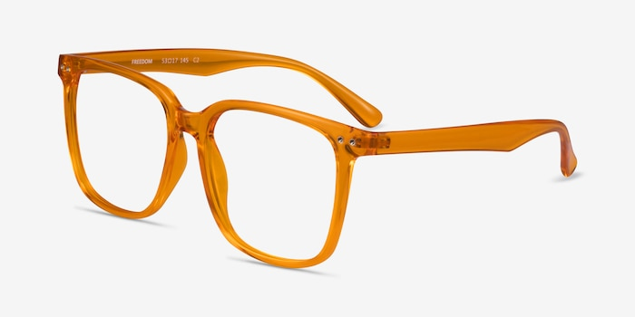 Freedom Clear Orange Plastic Eyeglass Frames from EyeBuyDirect, Angle View