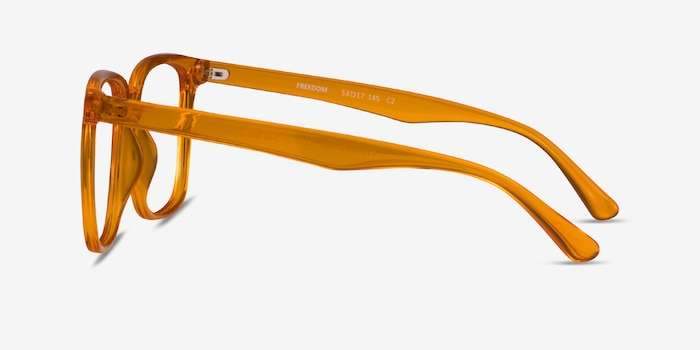 Freedom Clear Orange Plastic Eyeglass Frames from EyeBuyDirect, Side View