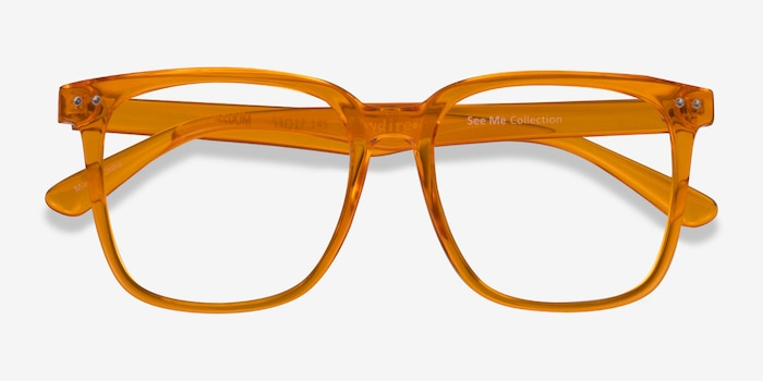Freedom Clear Orange Plastic Eyeglass Frames from EyeBuyDirect, Closed View