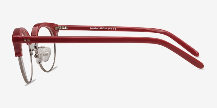 Annabel Red Plastic Eyeglass Frames from EyeBuyDirect, Side View