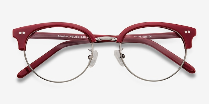 Annabel Red Plastic Eyeglass Frames from EyeBuyDirect, Closed View