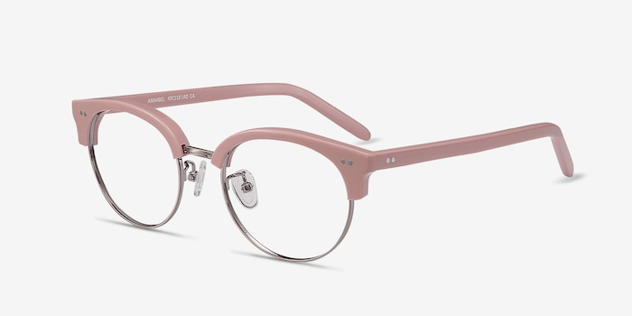 Annabel Pink Plastic Eyeglass Frames from EyeBuyDirect, Angle View