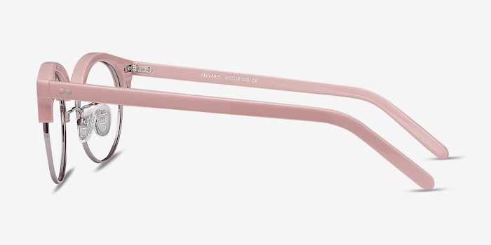Annabel Pink Plastic Eyeglass Frames from EyeBuyDirect, Side View