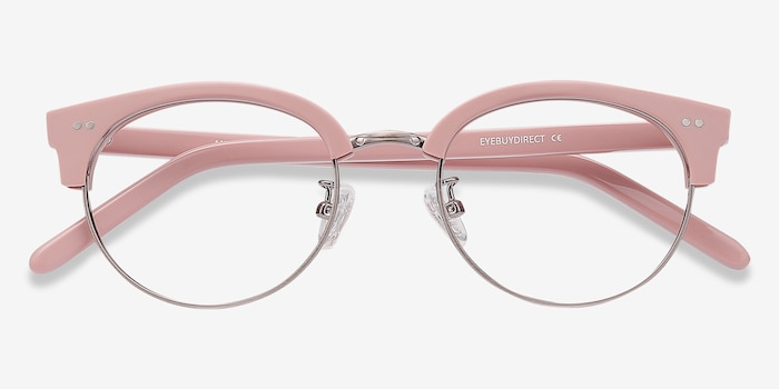 Annabel Pink Plastic Eyeglass Frames from EyeBuyDirect, Closed View