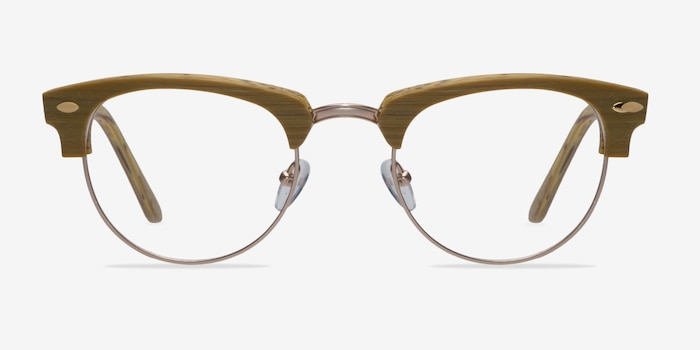 Esteban Yellow Wood-texture Eyeglass Frames from EyeBuyDirect, Front View