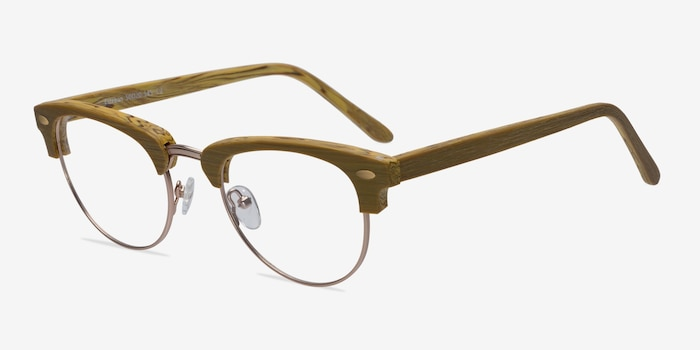 Esteban Yellow Wood-texture Eyeglass Frames from EyeBuyDirect, Angle View