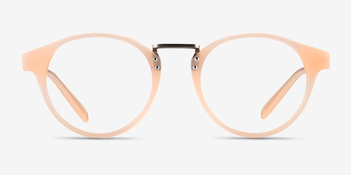 Get Lucky Ivory/Silver Acetate Eyeglass Frames from EyeBuyDirect, Front View