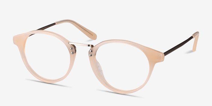 Get Lucky Ivory/Silver Acetate Eyeglass Frames from EyeBuyDirect, Angle View